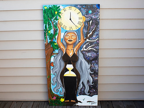 """Embracing Time"" 4 Feet Tall Acrylic Painting"
