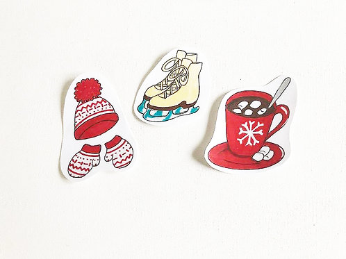 Winter Wonderful Handmade Stickers | Hat and Glove Set / Ice Skates / Hot Cocoa