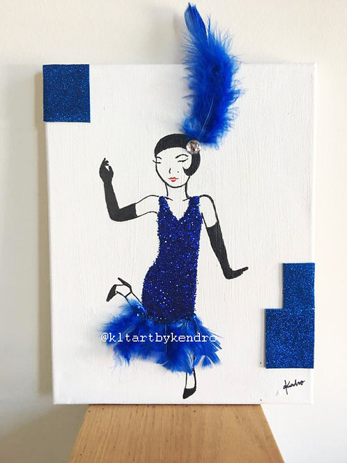 """Dance Flapper, Dance!"" Charleston Dance Mixed Media Original Painting"
