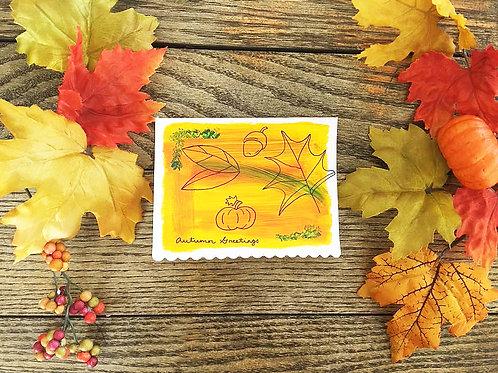 Autumn Greetings Handpainted Fall Season Blank Greeting Card
