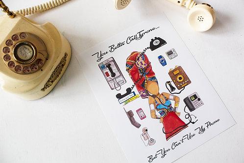 "Erykah Badu ""Call Tyrone"" Illustration Poster Print"