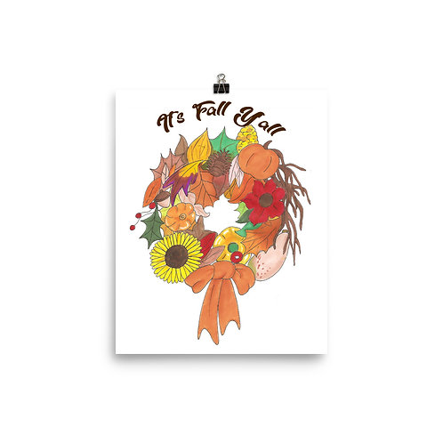 """""""It's Fall Y'all"""" Illustration Poster Print"""