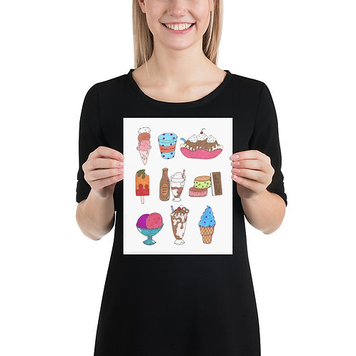 """Ice Cream Deliciousness"" Illustration Poster Print"