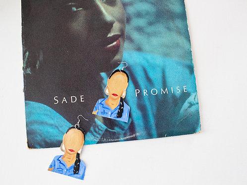 Sade Adu Earrings, Canvas, Handcut, Handpainted 1980's Icon Earrings