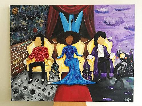 """Legendary Trio"" Prince, Whitney Houston, Michael Jackson Mixed Media Painting"