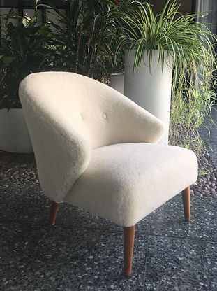 Lambswhool Scandinavian armchair upholstered by Glos.dk