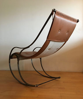 Antique Scandinavian Leather Rocking Chair attributed to R W Winfield upholstered by Glos.dk