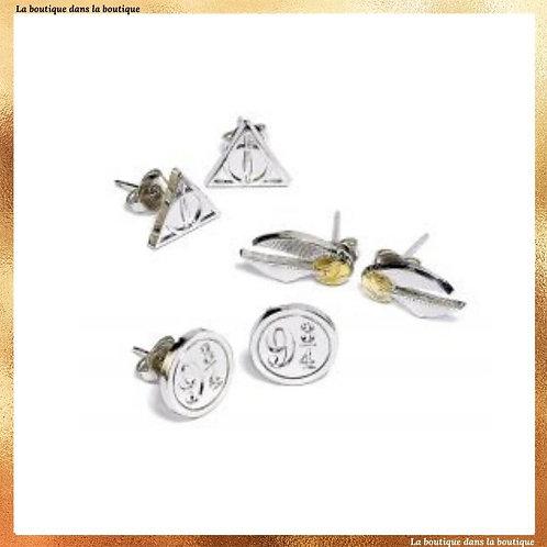 Ensemble de boucles d'oreilles reliques-vif d'or-9 3/4 - Harry Potter