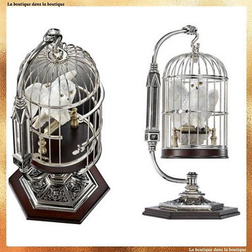 sculpture d'hedwige dans sa cage officielle harry potter