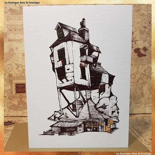 carte postale ou de voeux le terrier des weasley, boutique harry potter bordeaux
