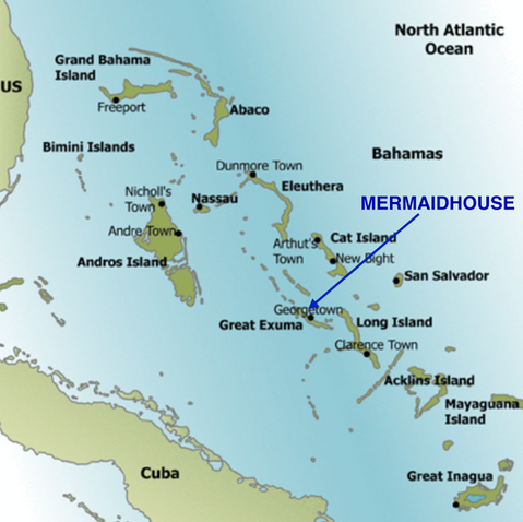 Location of Great Exuma & The Mermaid House