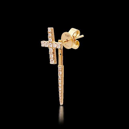 Single Earring with diamonds / Einzeln  Ohrringe