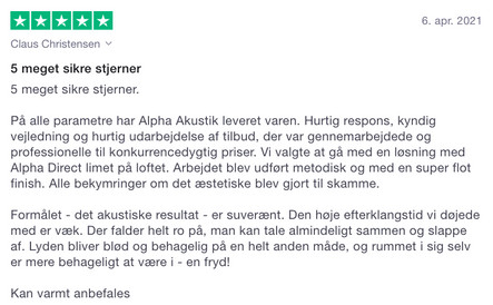 Anbefaling fra privatkunde