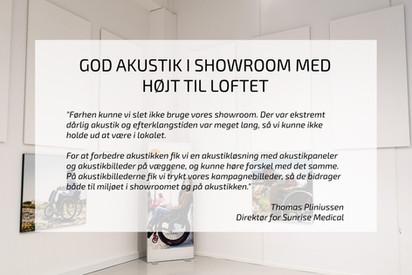 AKUSTIK I SHOWROOM MED HØJT TIL LOFTET