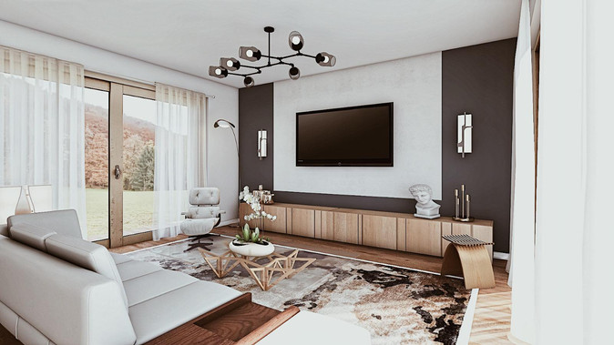 Living room in Dark and natural colors