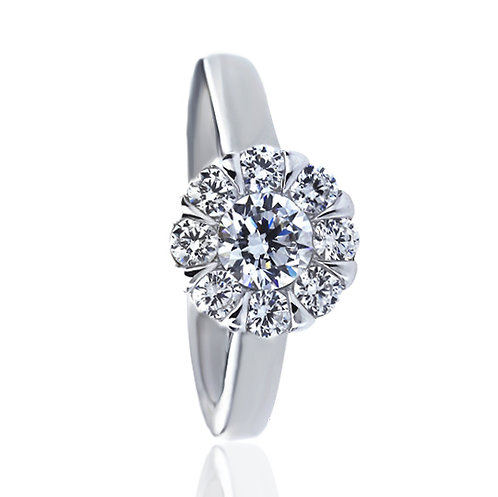 Platinum Plated Silver CZ Illusion Set Wedding Engagement Ring for Women