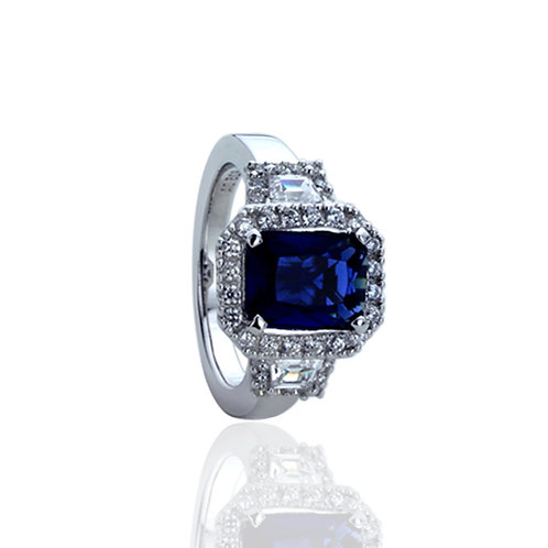 Silver Rhodium Plated Radiant Blue Sapphire CZ Anniversary Ring for Women