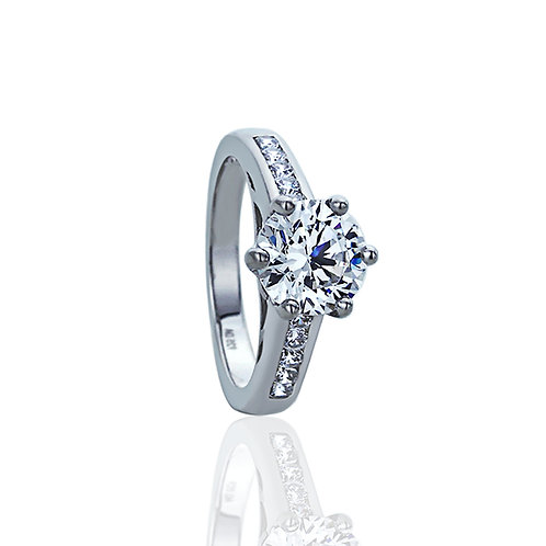 Sterling Silver Diamond Simulated Solitaire High 6 Prong Round Engagement Ring