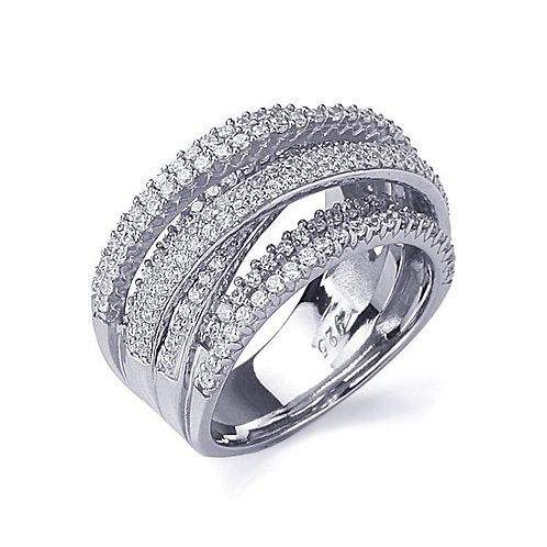 Rhodium Plated Sterling Silver Intertwined CZ Diamond Simulant Statement Ring