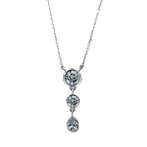 Silver Diamond Simulant Necklace Gray CZ Three Stone Drop Pendant Necklace