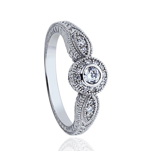 Simulated Diamond Engagement Ring, Vintage Round Bezel Silver Ring Set for Women