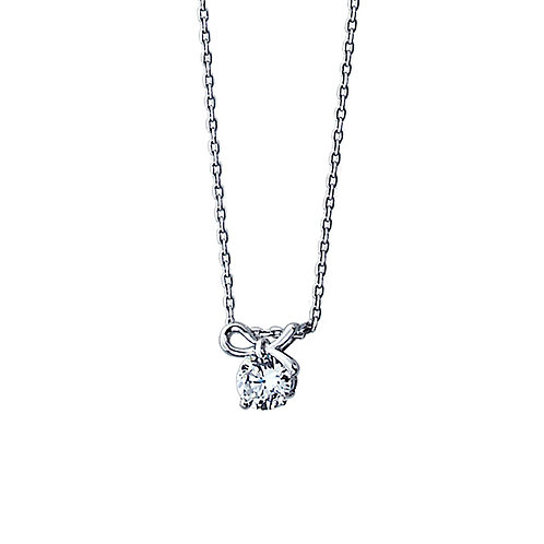 "Silver Diamond Simulant Necklace Bow Pendant, Chain 16""+2"" Extender for Women"