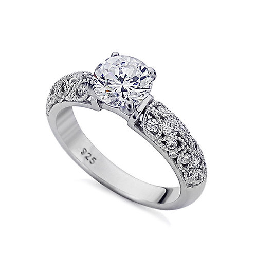 Platinum Plated Silver Vintage Wedding Ring, Diamond Simulant CZ Stone for Women