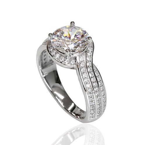 Platinum Plated Silver Bypass Design, Simulated Diamond CZ Stone Engagement Ring