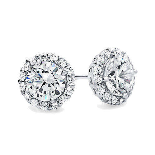 Sterling Silver Diamond Simulant Studs, Round CZ Stone Halo Earrings for Women