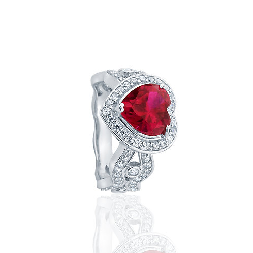 Sterling Silver 3 Carat Simulated Ruby CZ Heart Halo Ring for Women