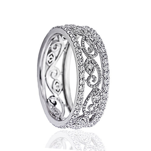 Platinum Plated Sterling Silver 1 Carat CZ Wedding Eternity Band for Women
