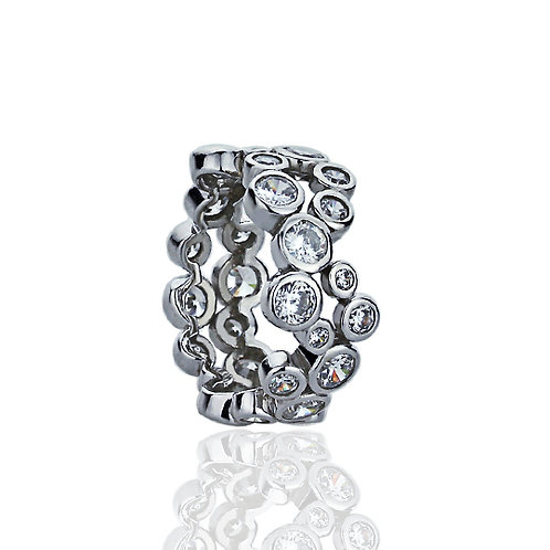 Sterling Silver Two Row Round CZ Bezel Eternity Wedding Band for Women