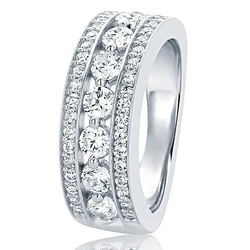 7MM Classic Design 7 diamond simulant CZ Stone silver BEAD CHANNEL SETTING ring