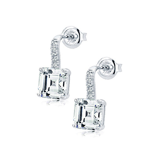Rhodium Plated Diamond Simulant Silver Drop Stud Prong Set Earrings for Women