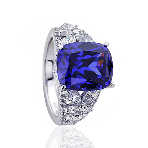 Platinum Plated Silver Radiant Cut Simulated Tanzanite Cocktail Ring for Women