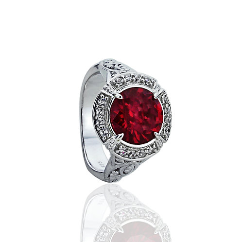 Sterling Silver Art Deco Design Simulated Ruby Engagement Ring for Women
