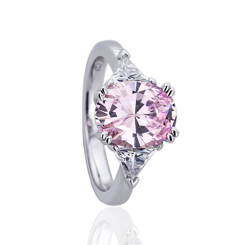 Platinum Plated Silver Oval Pink CZ Prong Wedding Engagement Ring for Women