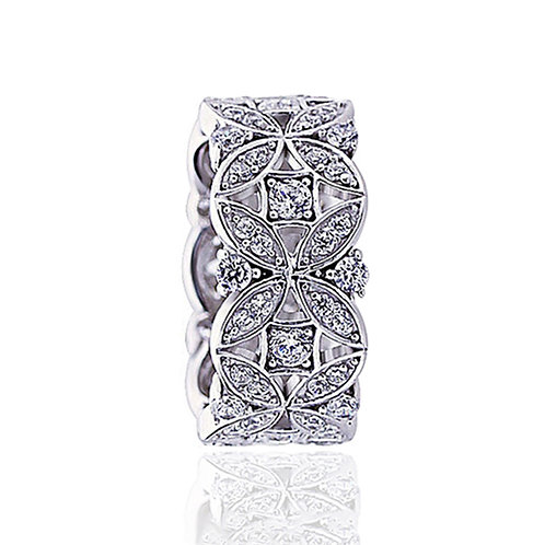 Art Deco Platinum Plated Silver Eternity Band, Simulated Diamond Ring for Women