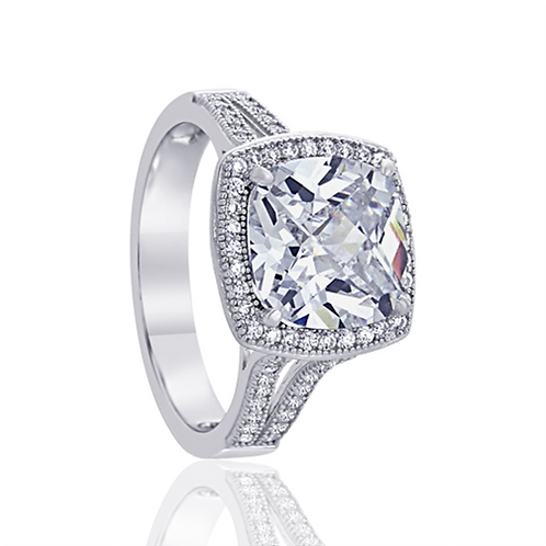 Silver Rhodium Plated Square CZ Exquisite Vintage Style Cocktail Ring for Women