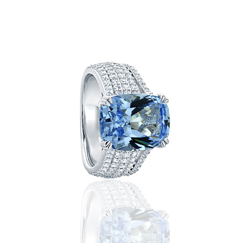 Sterling Silver Radiant Simulated Blue Topaz Cocktail Ring for Women