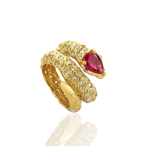 Sterling Silver 14K Gold Plated Pear Simulated Ruby CZ Snake Ring for Women