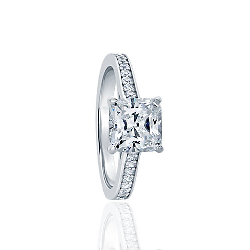 Sterling Silver Diamond Simulant CZ Stone Solitaire Engagement Ring for Women