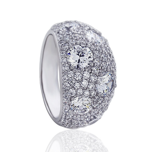 Platinum Plated Silver CZ Pave Domed Wedding Engagement Ring Set for Women