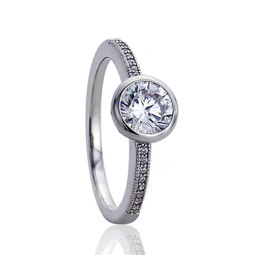 Round CZ Bezel Silver Rhodium Plated Solitaire Engagement Ring for Women