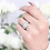 Thumbnail: Platinum Plated Silver CZ Halo Vintage Wedding Engagement Ring for Women