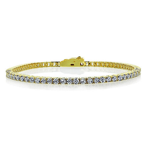 Sterling Silver Round CZ Simulated Diamond Dainty Tennis Bracelet for Women