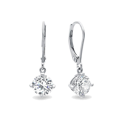 Rhodium Plated Silver Round CZ 4 Prong Leverback Dangle Earrings for Women