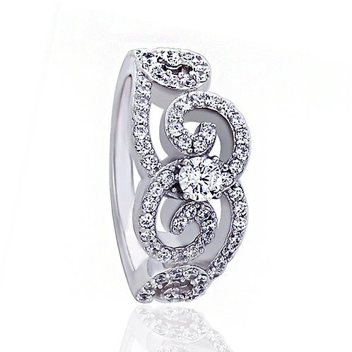 Platinum Plated Sterling Silver Round CZ Wedding Engagement Ring for Women