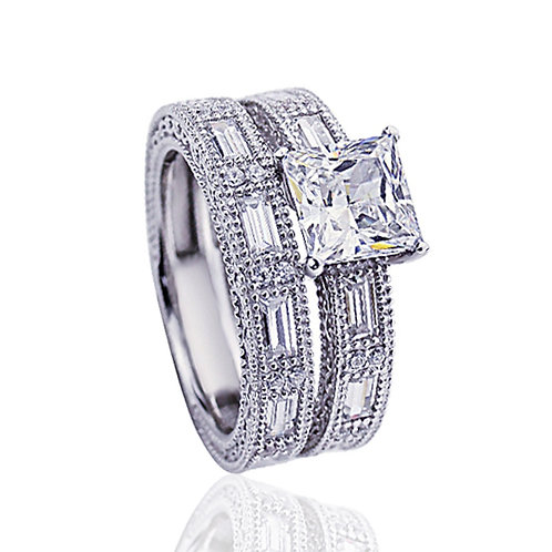 Platinum Plated Silver Princess CZ, Wedding Engagement Ring Bridal Set for Women