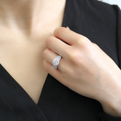 Diamond Simulant Engagement Ring, Platinum Plated Sterling Silver Wedding Ring